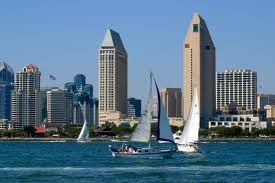 San Diego skyline with sail boats